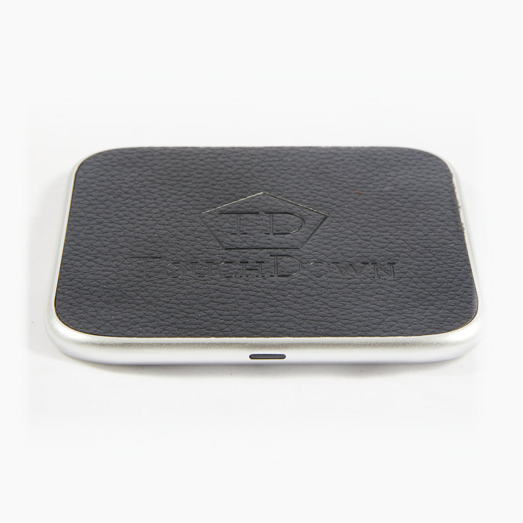 Leather Charging Pad - Business Edition - Black-Charging Pad-TouchDown Charging-Silver-TouchDown Charging