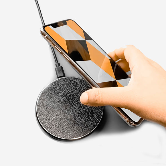 Circular Leather Charging Pad - Business Edition - Silver-Charging Pad-TouchDown Charging-Silver-TouchDown Charging