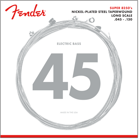 Fender 8250 Bass Strings, Nickel Plated Steel Taper Wound, Long Scale