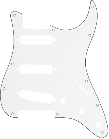 Pickguard, Stratocaster® S/S/S, 11-Hole Mount, W/B/W, 3-Ply