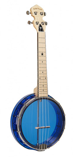 Goldtone Little Gem Ukulele Banjo See Through Sapphire + Bag