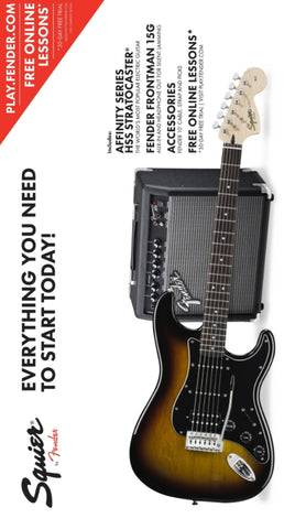 Squier Strat Pack HSS with 15W Amp Brown Sunburst