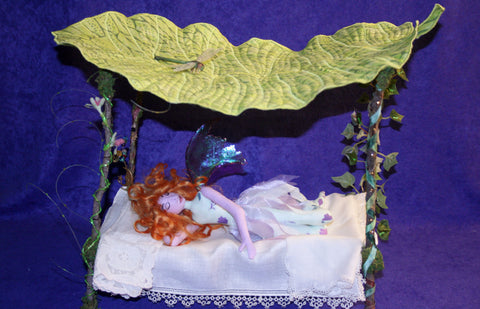 Sleeping Fairy on her Canopy Bed