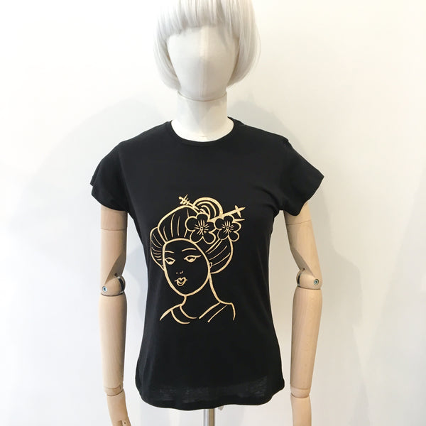 Geisha T-shirt Black with Gold Glitter