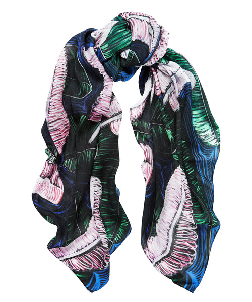Banana Leaves Scarf - Blue