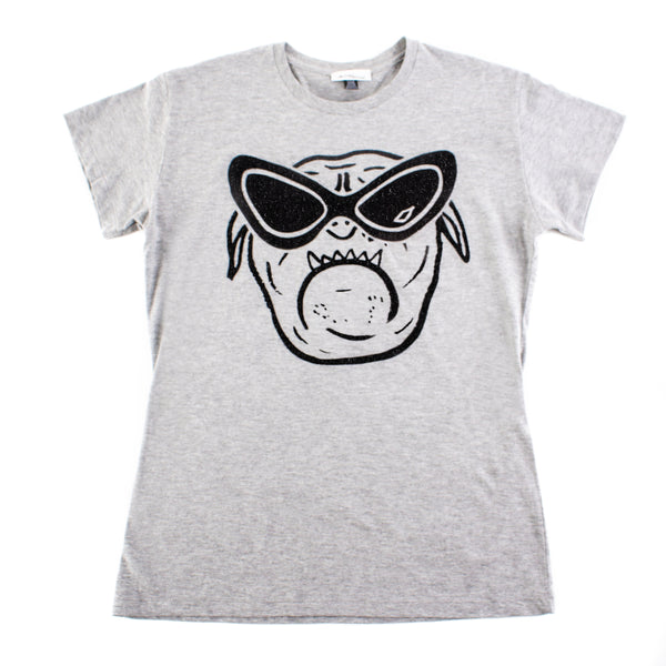 Bulldog T-shirt Grey with Black Glitter - Size M/L