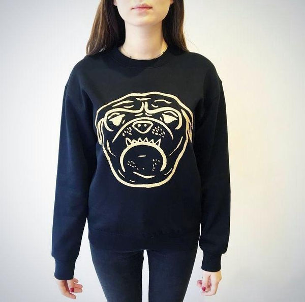 Bulldog Sweater - Black with Gold Glitter