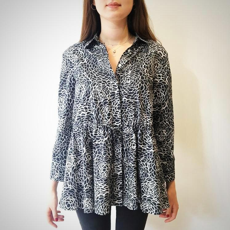 Camellia Shirt - Black and White