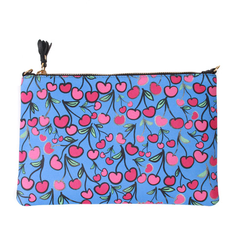 Cherries Leather Clutch