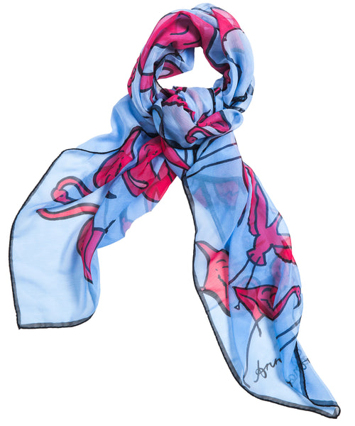 Flamingos Scarf - Blue