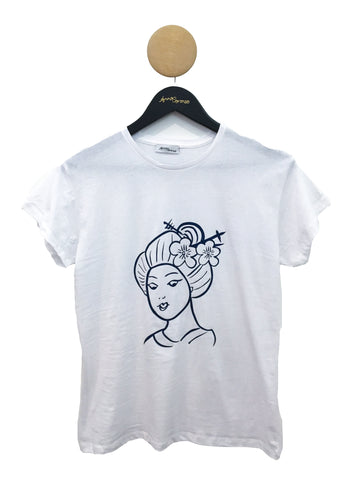 Geisha T-shirt White with Blue Glitter