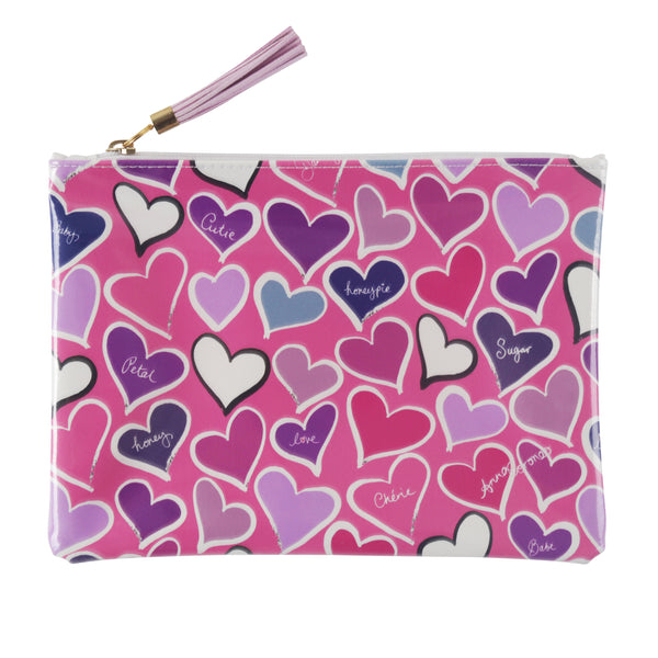 Hearts Travel Clutch