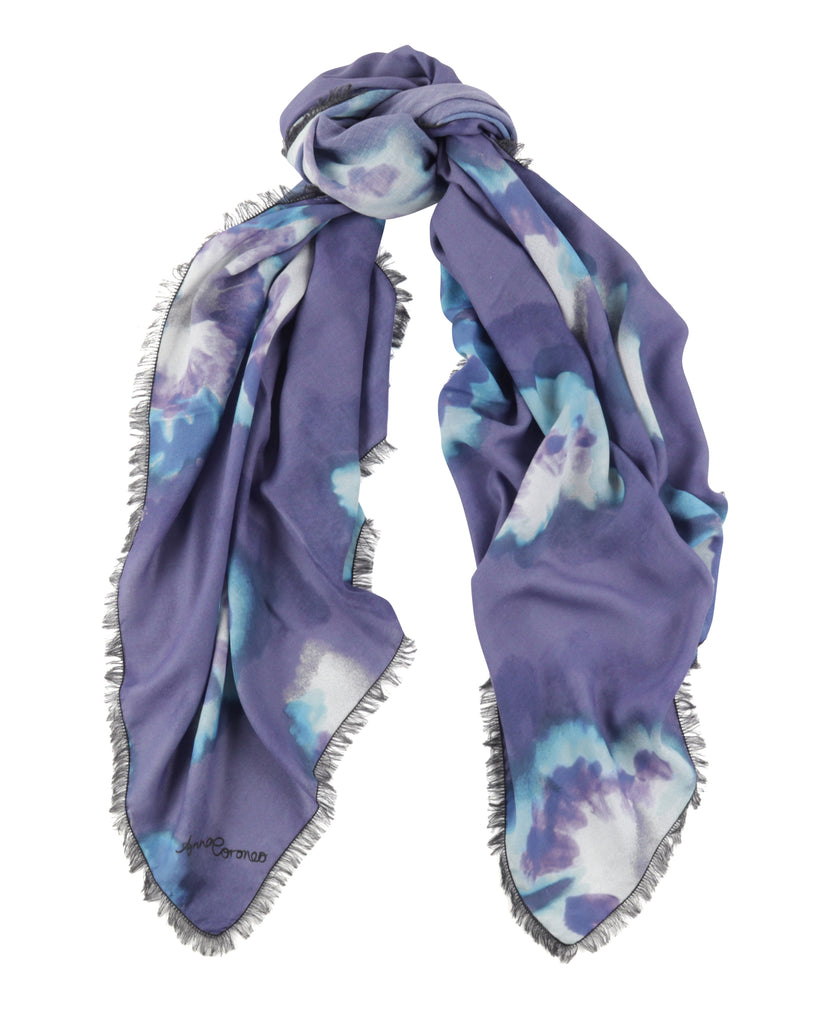 Strawberry Leaf Scarf - Blue