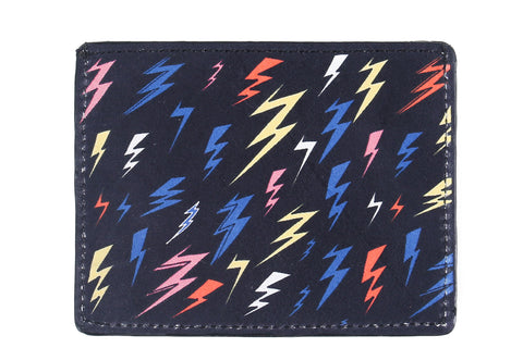 Lightning Bolts Leather Cardholder