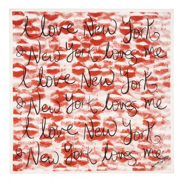 I Love New York Kisses Scarf - Red/White