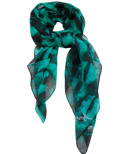 Kisses Scarf - Aqua/Black