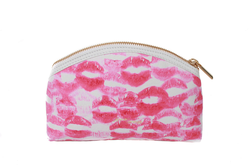 Kisses Leather Makeup Bag