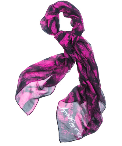 Kisses Scarf - Pink/Black