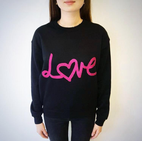 Love Sweater - Black with Pink Glitter
