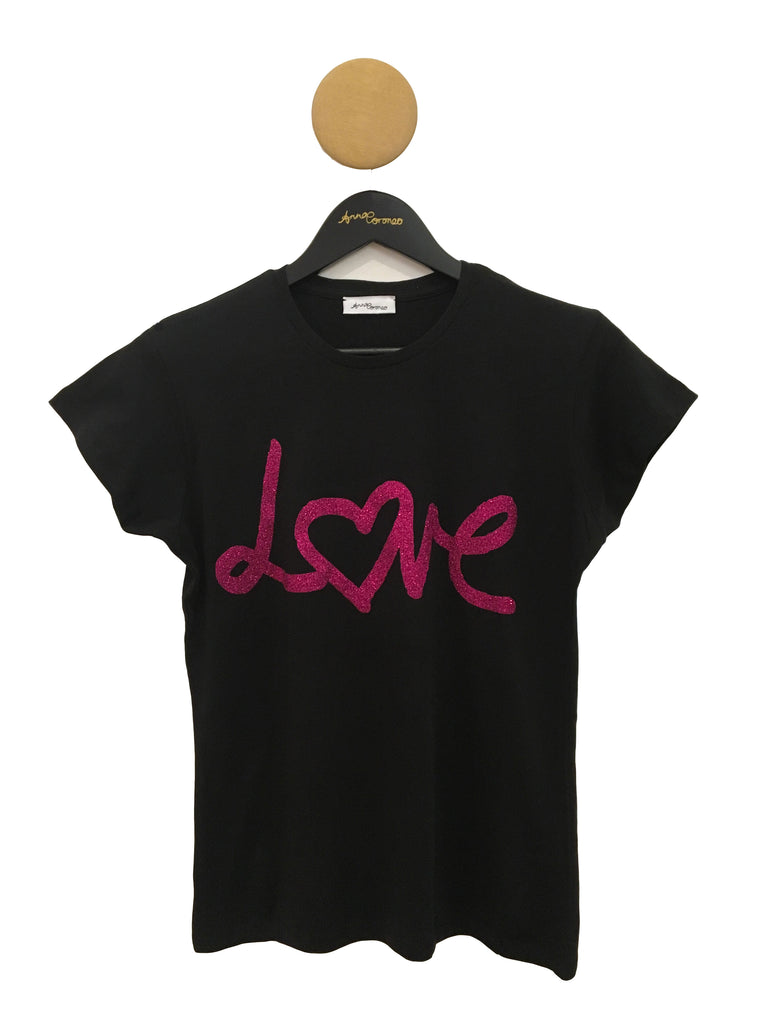 Love T-shirt Black with Pink Glitter
