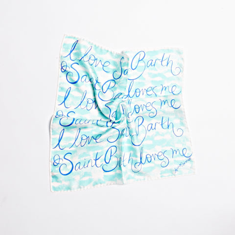 Kisses Saint Barth Scarf - Aqua/White