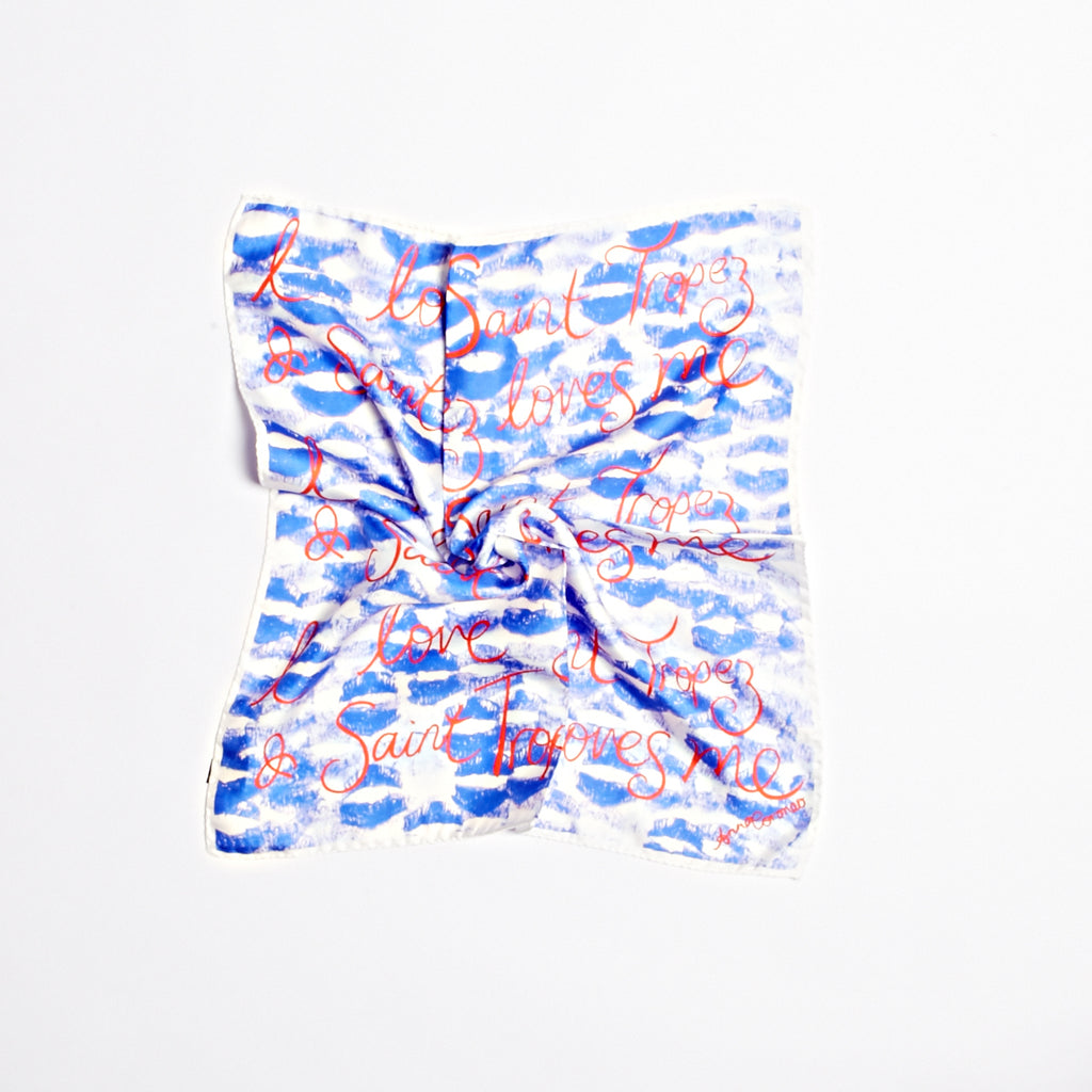 Kisses St Tropez Scarf - Dark Blue/White