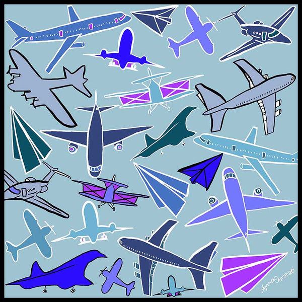 Airplanes Scarf - Mint