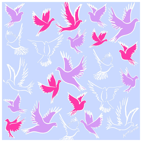 Doves Scarf - Pink
