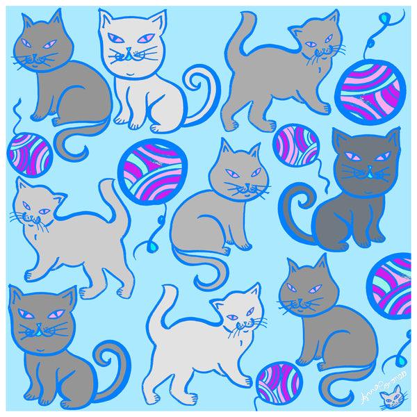 Kitty Cats Scarf - Blue