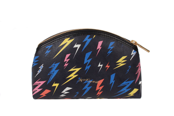 Lightning Bolts Leather Makeup Bag