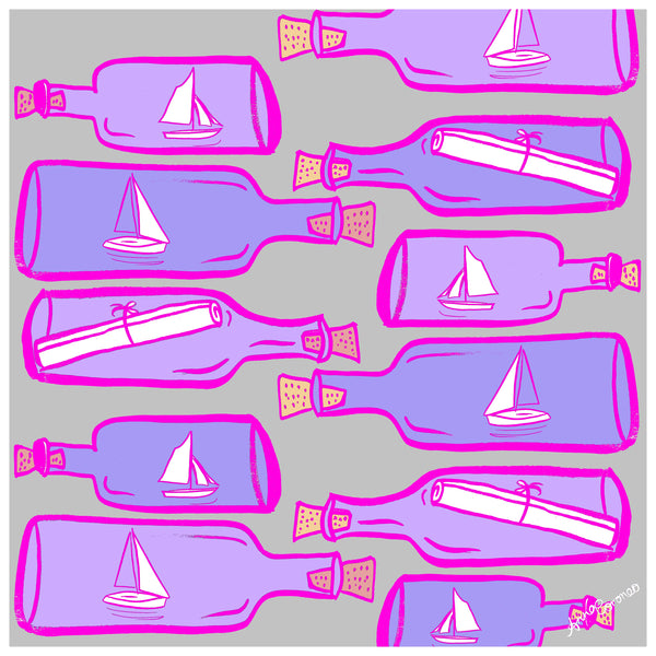 Message In A Bottle Scarf - Pink/Grey