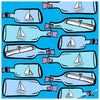 Message in a Bottle Scarf - Blue