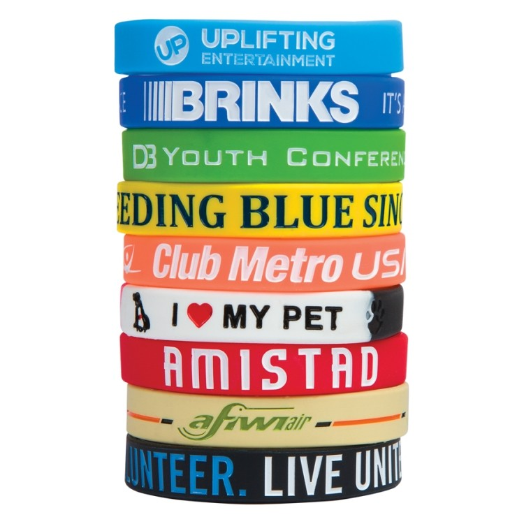 "1/2"" Debossed Color Filled Silicone Wristband"