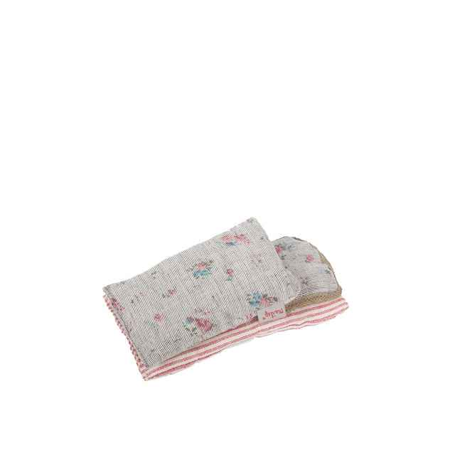 Bedlinen, for Micro Pram, Grey Flower