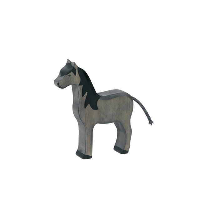 Wooden Animal - Horse, standing, black