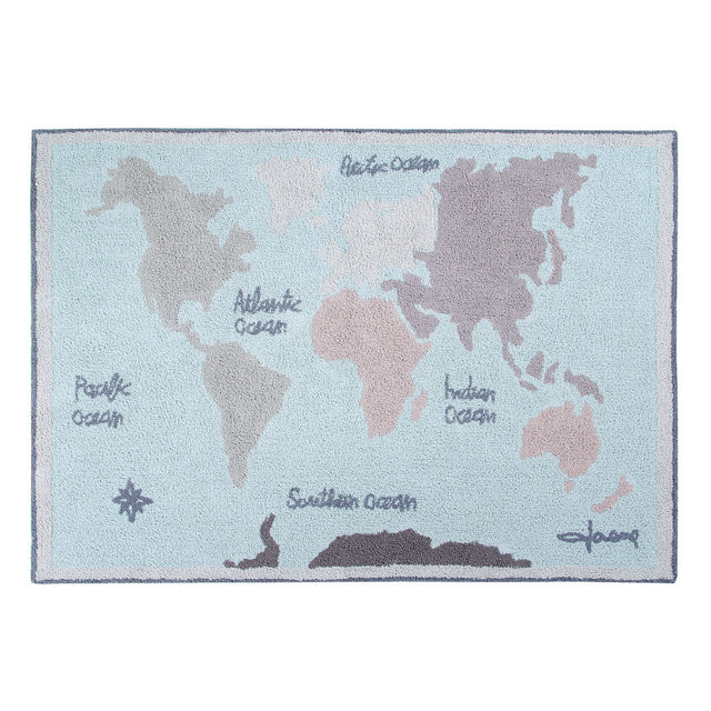 Lorena Canals - Washable Rug - Back to school - Vintage Map - 140x200cm