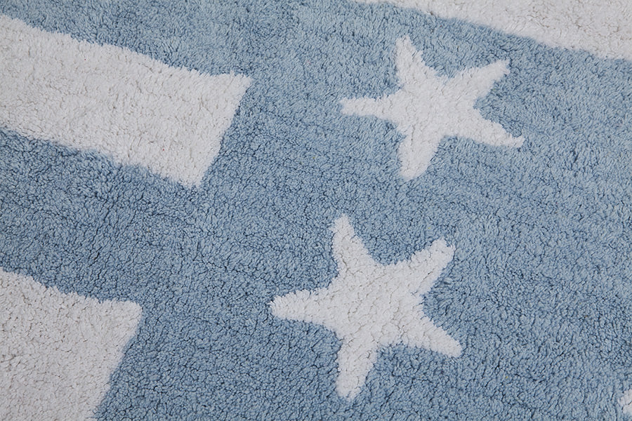 Washable Rug - American Flag - Baby Blue