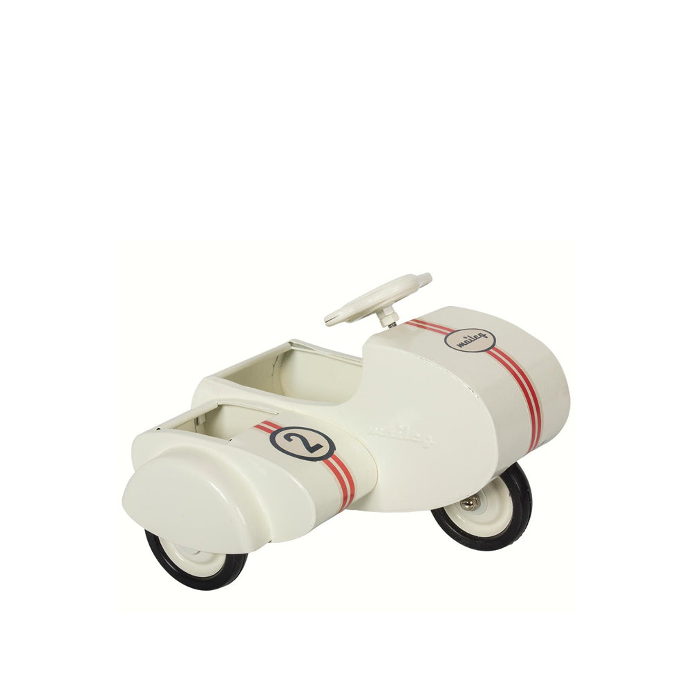 maileg, Metal scooter w. sidecar - white