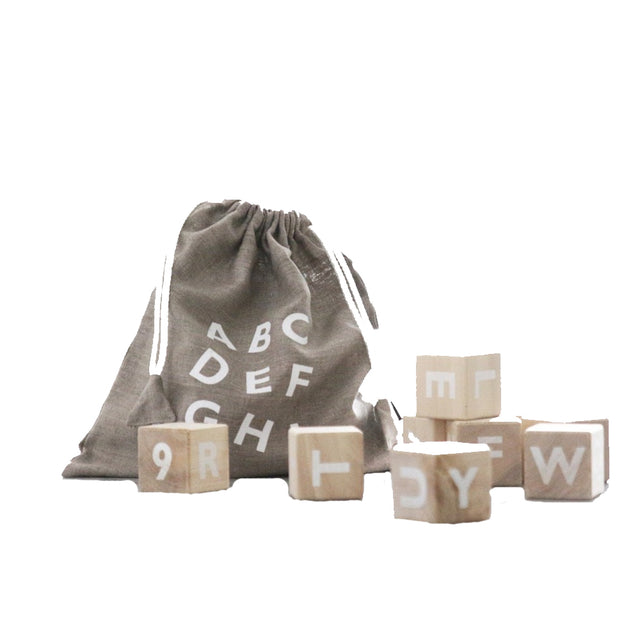 Alphabet Wooden Blocks - White