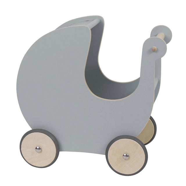 Sebra, Wooden Dolls Pram - Warm Grey