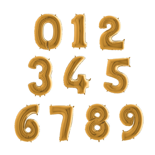 Number Balloons - Gold