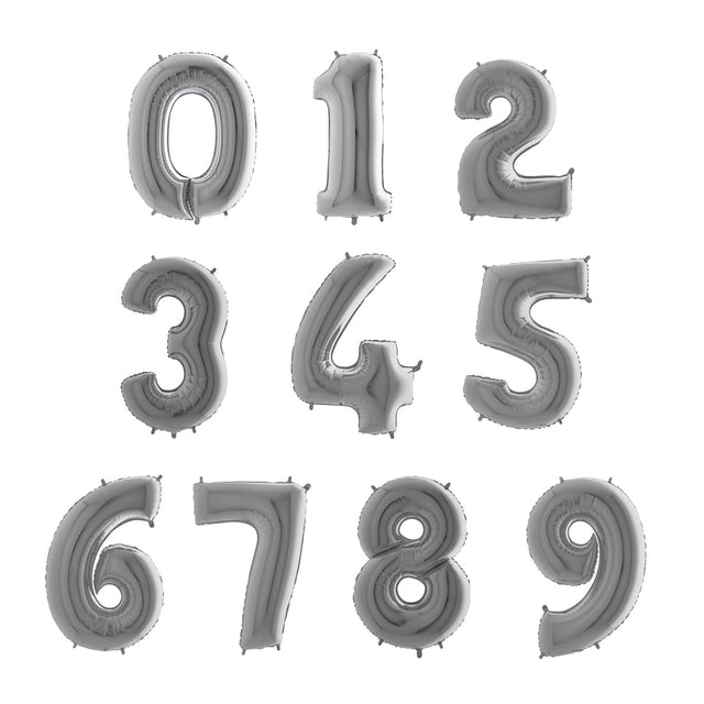 Number Balloons - Silver