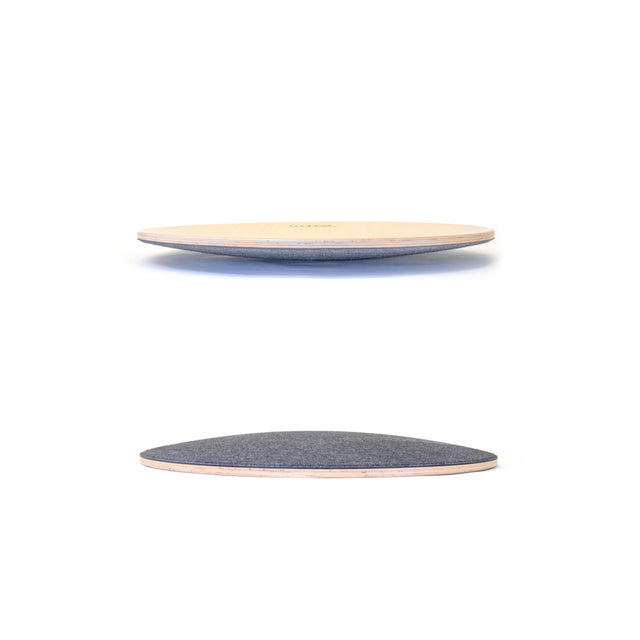 Wobbel - Balance Board - 360 - Transparent Lacquer - Pressed Felt Mouse