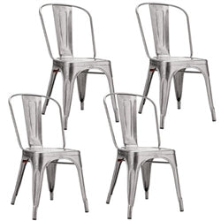 Tolix Marais Dining Chair Set Of 4 In Silver