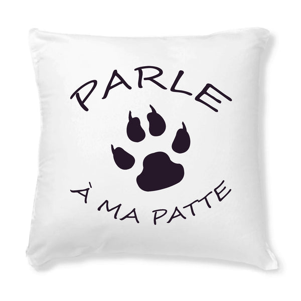 housse coussin blanc parle a ma patte