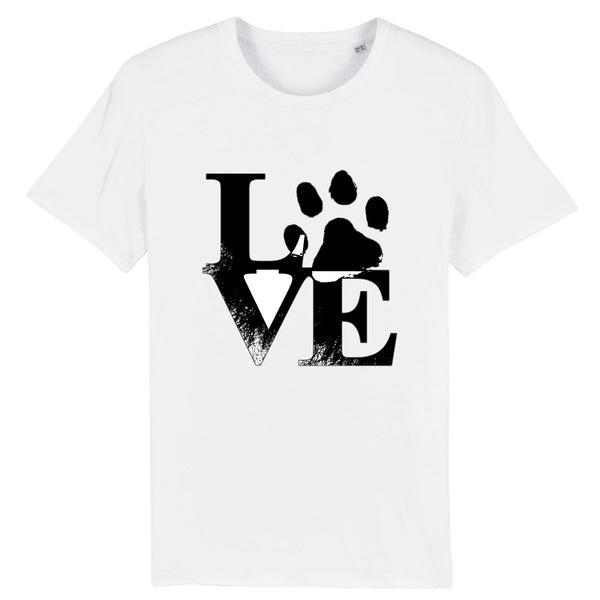 t-shirt blanc love patte de chien