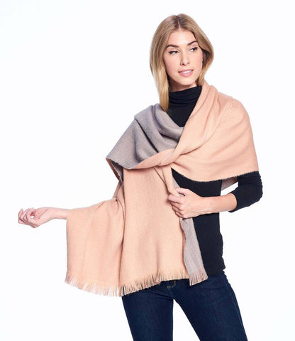 Alpaca Reversible Wrap - Dusty Coral