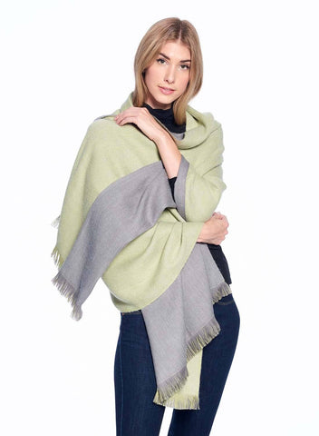Alpaca Reversible Wrap - Olive Branch