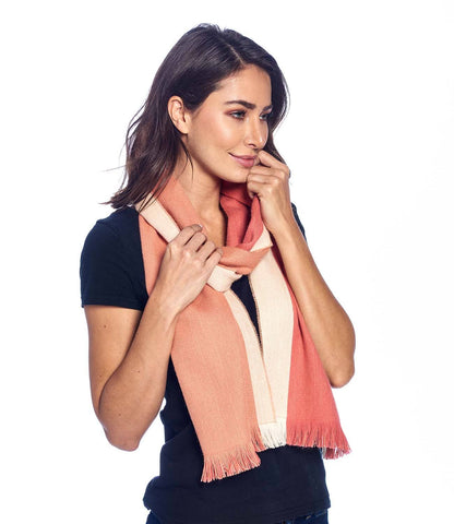 Alpaca Reversible Scarf - Peach Bloom