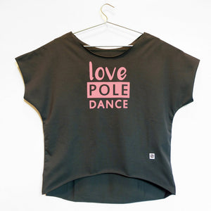 Love pole dance loose tee - rosa baby e grigio // pink and grey
